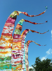 Circus preparedness - beautiful banners that we tie dyed
