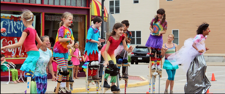 Circus kids who wonder where to buy juggling balls and stilts